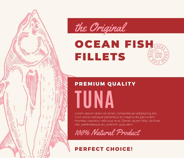 プレミアム品質の魚の切り身。抽象的な魚のパッケージデザインまたはラベル。現代のタイポグラフィと手描きマグロシルエット背景レイアウト