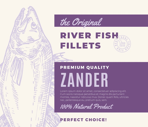 프리미엄 품질의 생선 필레. 초록 물고기 포장 디자인 또는 레이블. 현대 타이포그래피와 손으로 그린 잰더 실루엣 배경 레이아웃