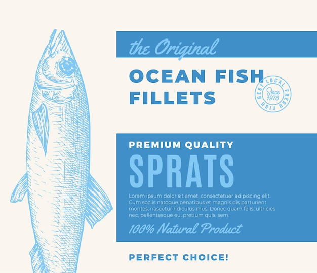 Premium quality fish fillets abstract vector fish packaging design or label modern typography and ha...