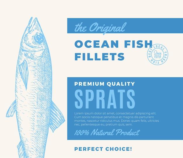 プレミアム品質の魚の切り身は、ベクトルの魚のパッケージデザインを抽象化するか、現代のタイポグラフィとラベルを付けます...