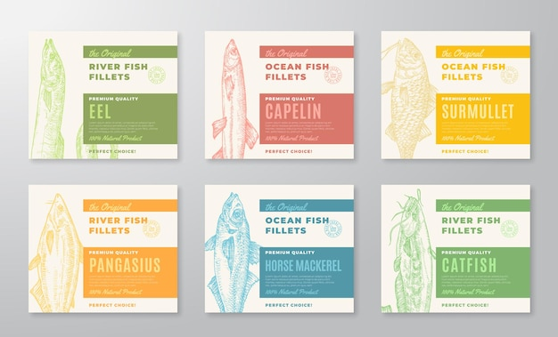 Premium quality fish fillets labels collection abstract vector fish packaging design or cards set mo...