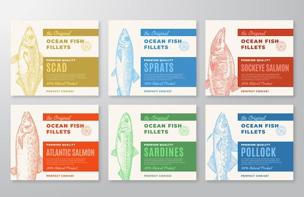 プレミアム品質の魚の切り身ラベルコレクション抽象的なベクトル魚のパッケージデザインまたはカードセットmo ...
