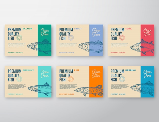 Premium quality fish labels set.