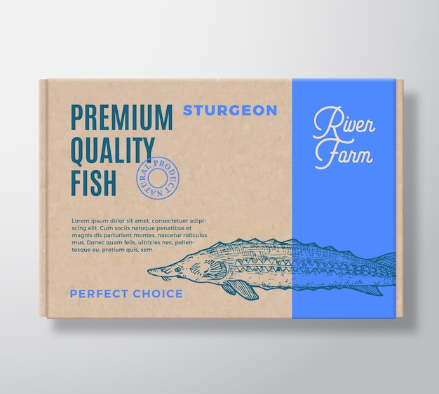 プレミアム品質の魚のリアルな段ボール箱。パッケージングモックアップ