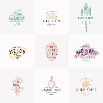 Знаки премиального качества, фрукты, травы и специи или шаблон логотипа