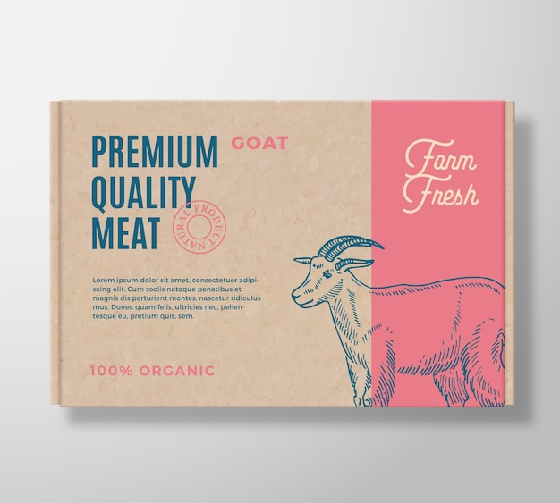 Premium quality goat  meat packaging label  on a craft cardboard box container.