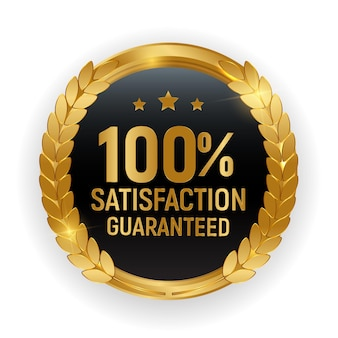 Premium quality gold medal badge.100 satisfaction guaranteed sign isolated on white background.
