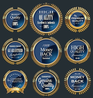 Premium quality golden retro labels collection