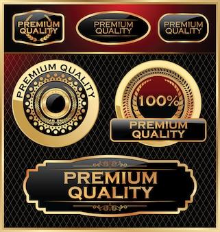 Premium quality golden retro labels collection