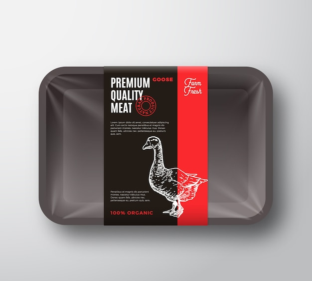 Premium quality goose meat package and label stripe.