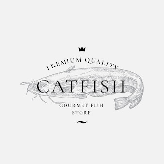 Premium quality gourmet fish purveyors abstract sign symbol or logo template