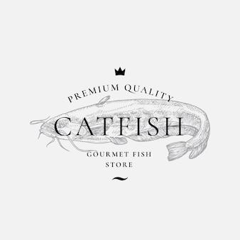 プレミアム品質のグルメ魚の供給者の抽象的な記号記号またはロゴのテンプレート