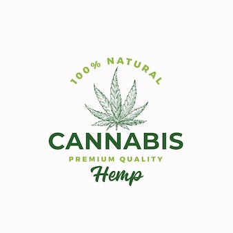 Premium quality hemp. cannabis abstract  sign, symbol or logo template.