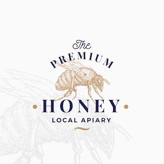 프리미엄 품질 꿀 로고 템플릿.