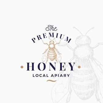 プレミアム品質の蜂蜜のロゴのテンプレート。