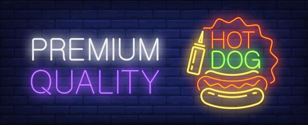 Premium quality hotdog neon sign. sausage, bun and mustard.
