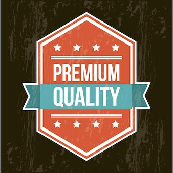 Premium quality label over black background