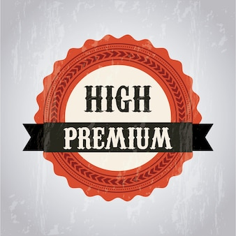 Premium quality label over gray background