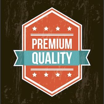 黒い背景の上にプレミアム品質のラベル