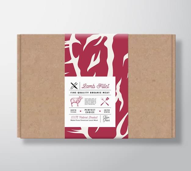 Premium quality lamb fillet craft cardboard box.