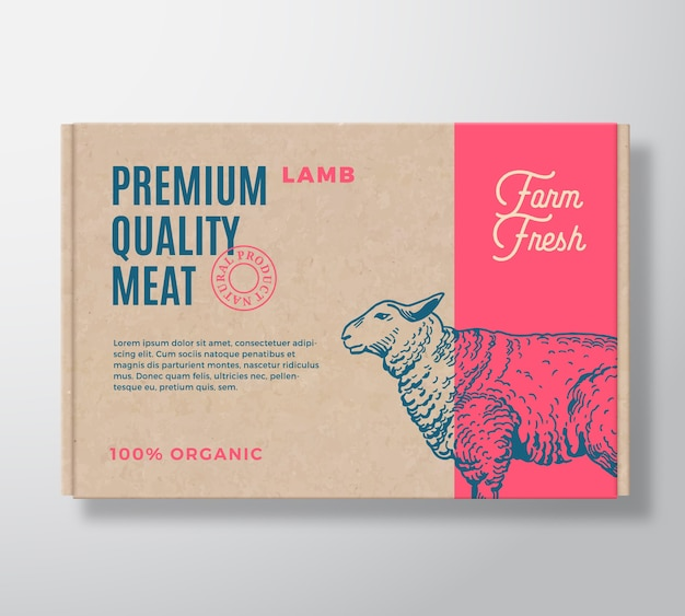 Premium quality lamb  meat packaging label  on a craft cardboard box container