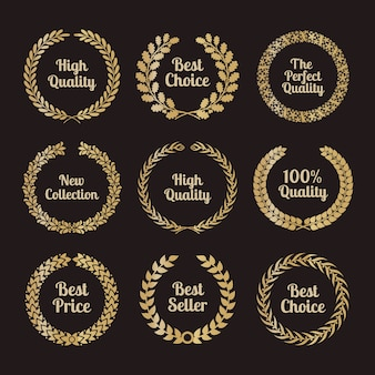 Premium quality laurel wreaths in retro style. badge sign golden, award and golden.