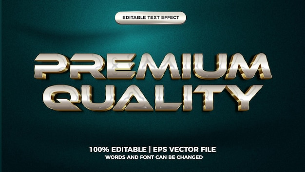 Premium quality luxury white gold 3d editable text effect style template