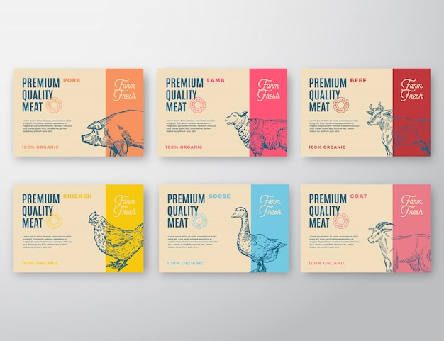Premium quality meat and poultry labels set. abstract vector packaging design or label.