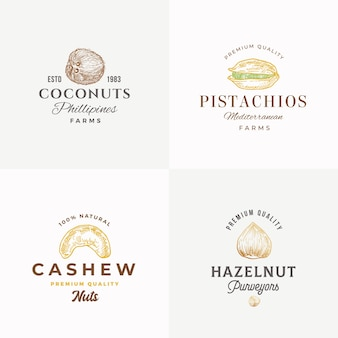 Premium quality nuts abstract vector sign, symbol or logo templates collection