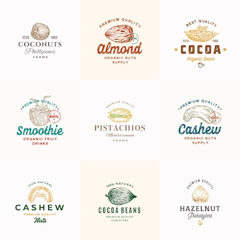 Коллекция шаблонов логотипов премиум качества орехи какао и кокосы