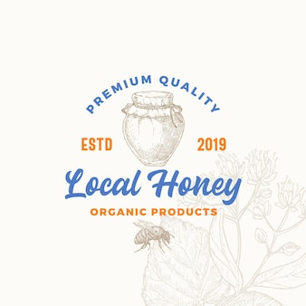 Premium quality organic local honey product sign symbol or logo template