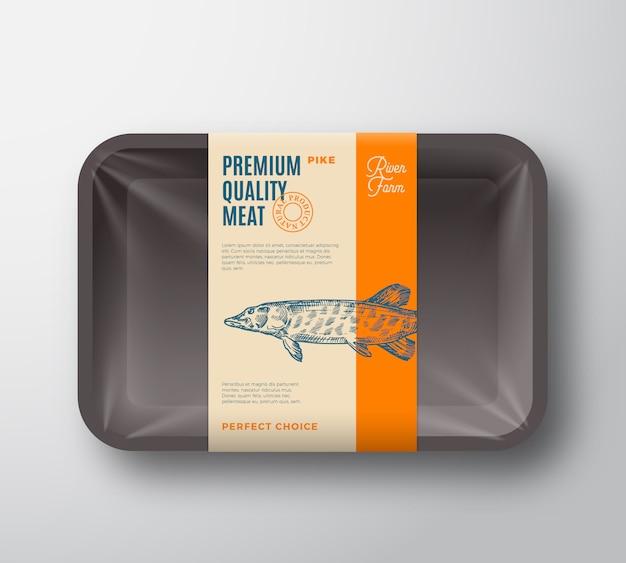 프리미엄 품질 파이크. 셀로판 커버 포장 디자인 레이블 추상 벡터 물고기 플라스틱 트레이.