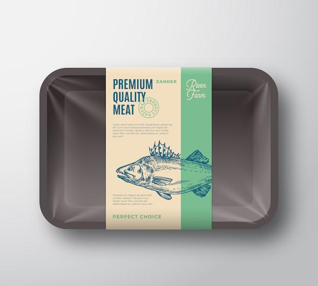 프리미엄 품질의 pikeperch. 셀로판 커버 포장 디자인 레이블 추상 벡터 물고기 플라스틱 트레이.