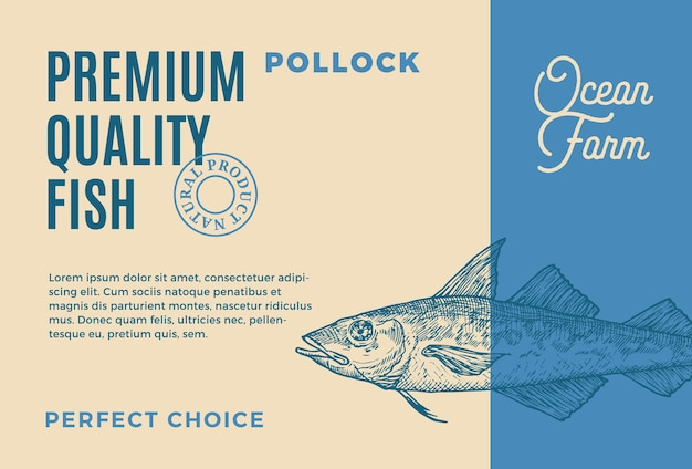 Premium quality pollock abstract vector food packaging design or label modern typography and hand dr...