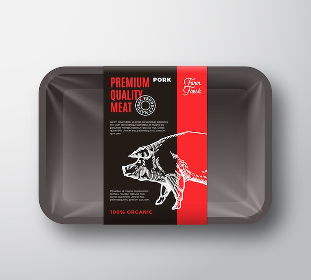Premium quality pork meat package  food plastic tray container with cellophane cover  layout.