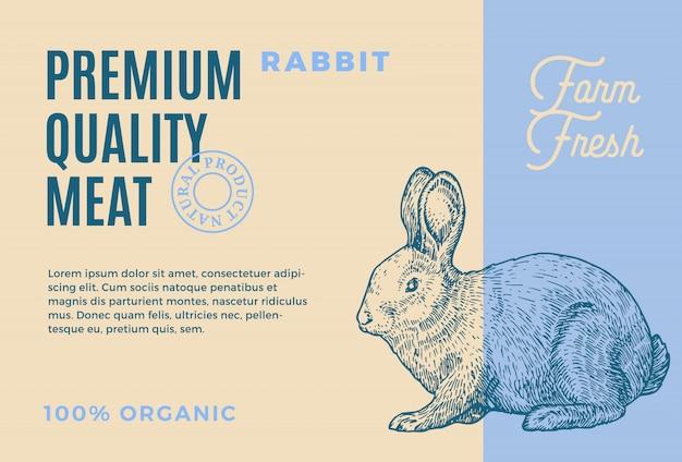 프리미엄 품질 토끼. 추상 고기 포장 또는 레이블. 현대 타이포그래피와 손으로 그린 토끼 스케치 실루엣 배경 레이아웃