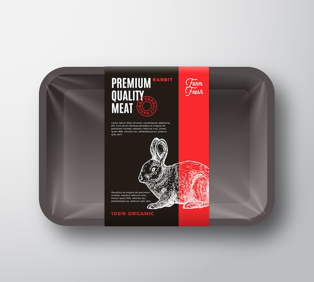プレミアム品質のうさぎパック。セロハンカバー付き抽象肉プラスチックトレイコンテナー。包装ラベル。現代のタイポグラフィと手描きウサギシルエット背景レイアウト。
