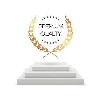 プレミアム品質。リアルな表彰台と月桂樹。金の花輪のイラストと孤立した賞の台座ステージ。