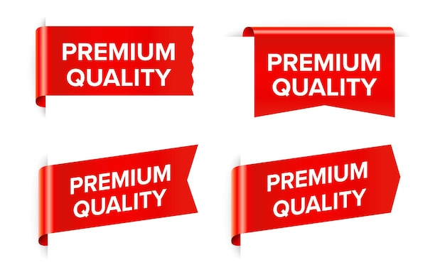 Premium quality red sticker tag isolated on white