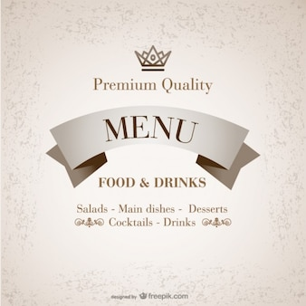 Premium quality restaurant menu