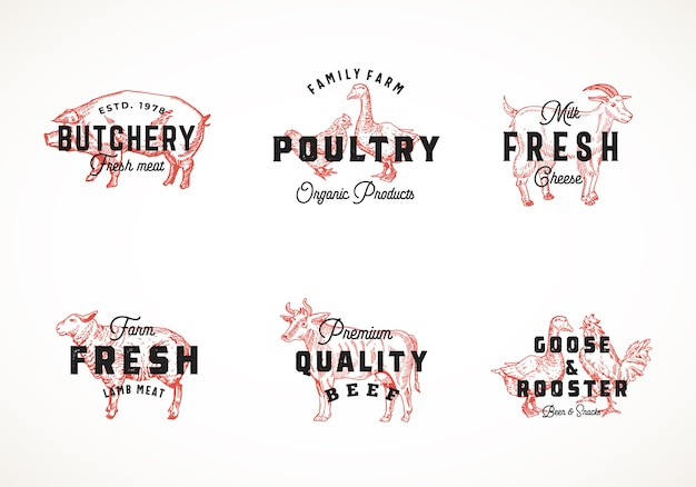 프리미엄 품질 레트로 소 및 가금류 로고 템플릿 컬렉션. 고급 타이포그래피, 돼지, 소, 닭 등으로 손으로 그린 빈티지 가축과 새 스케치 라벨 세트