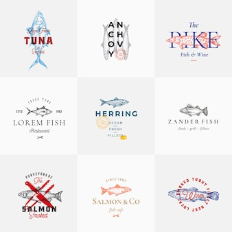Premium quality retro fish signs or logo templates set. hand drawn vintage fish sketches with classy typography, tuna, trout, salmon, herring etc. great restaurant and seafood emblems.