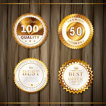 Premium quality round gold labels collection over wooden plates