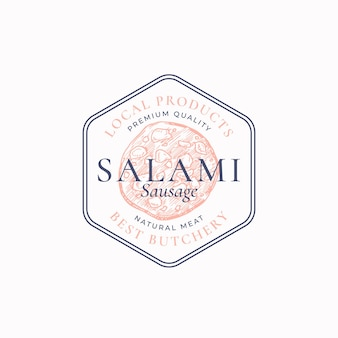 Premium quality salami frame label or logo template hand drawn sausage sketch sign butchery emblem w...