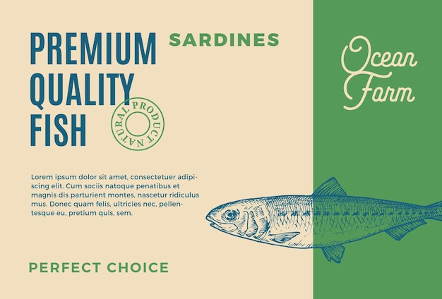 プレミアム品質のイワシは、ベクトル食品包装デザインを抽象化するか、現代のタイポグラフィと手でラベルを付けます...