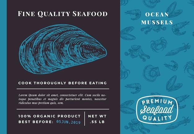 プレミアム品質のシーフードムール貝のパッケージテンプレート