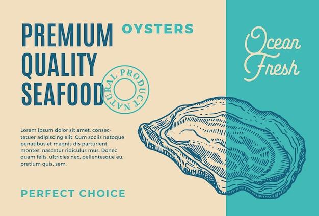 프리미엄 품질의 해산물. 포장 디자인. 현대 타이포그래피와 손으로 그린