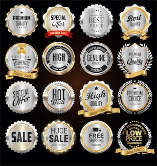 Premium quality silver badges and labels