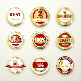 Premium quality sparkling golden labels collection over beige
