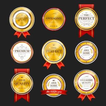 Premium quality sparkling golden labels collection over black